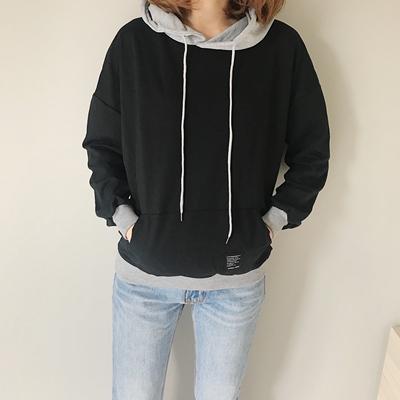 实拍0157#秋装韩国ulzzang假两件撞色拼接连bf套头卫衣外套女学生