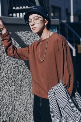2018 mùa xuân mới cotton vòng cổ hoang dã dài tay T-Shirt nam xu hướng Hàn Quốc phiên bản của thoải mái đáy áo loose quần áo áo polo Áo phông dài