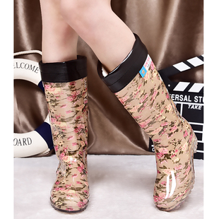 Kappa rainshoes female high tube high boots waterproof boots shoes fashion all-match crystal slip spring and autumn paragraph