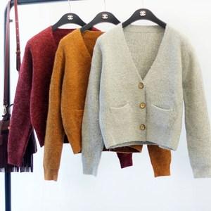 Mùa xuân mới của phụ nữ áo len cardigan Hàn Quốc phiên bản của lỏng dài tay V-Cổ ngắn áo len cao đẳng gió áo khoác áo sơ mi