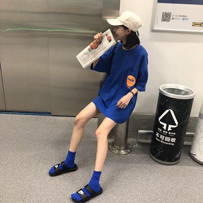 樱田川岛ulzzang韩国夏季嘻哈蹦迪帅气宽松蓝色上衣短袖T恤女潮