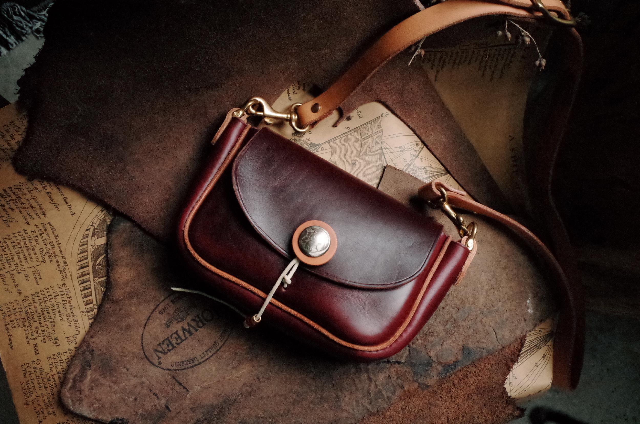 HORWEEN 霍尔文茶芯皮美式复古 印第安风格 纯手工小腰包迷你斜跨