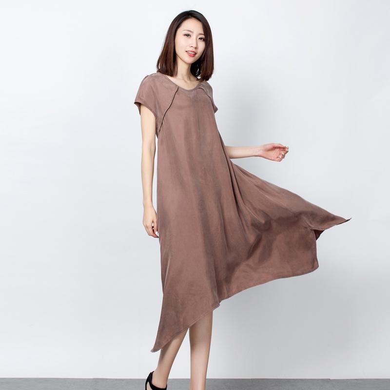 2017年夏季重磅铜氨丝宽松连衣裙中长裙袍子真丝文艺大码女装