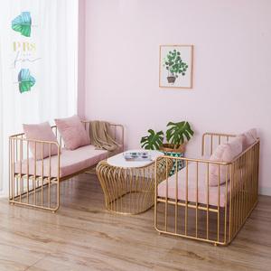 Ins gió Bắc Âu thời trang sofa vàng đặt đồ nội thất bàn cà phê tối giản hiện đại sắt rèn đơn đôi ghế sofa