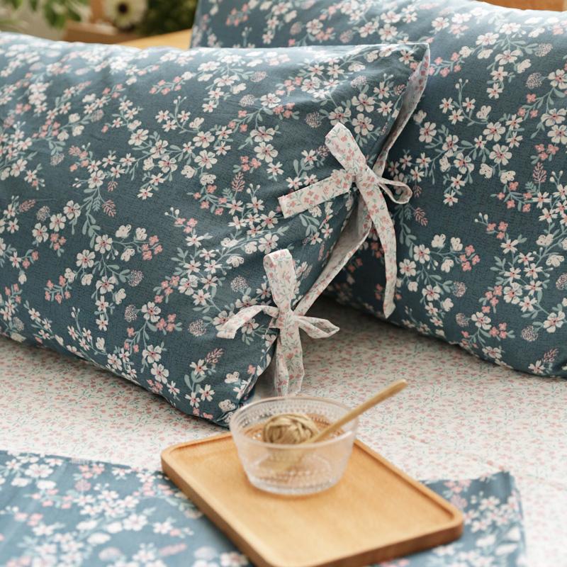 日式风情 唯美樱花蝴蝶结绑带四件套 纯棉全棉床上用品床单床笠