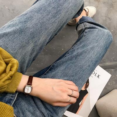 牛仔裤女秋装新款时尚白色高腰九分裤宽松老爹裤哈伦萝卜裤潮