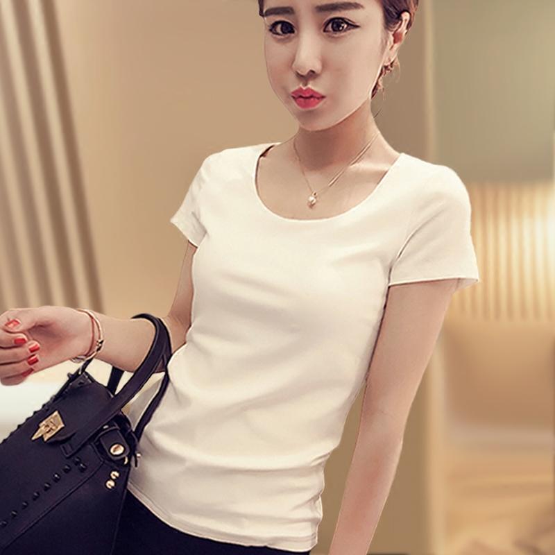 白色t恤女短袖2018夏圆领韩版女修身百搭纯棉上衣短款纯色打底衫