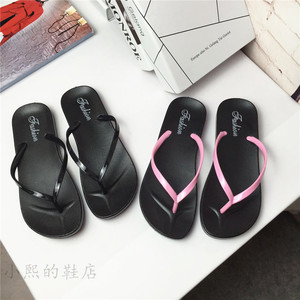 Mùa hè của phụ nữ từ kéo màu rắn dép Hàn Quốc phẳng nữ non-slip giày bãi biển nữ ván ép giày dép giản dị