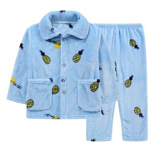 春秋季儿童睡衣法兰绒男童女童珊瑚绒加绒加厚款男孩女孩宝宝小孩