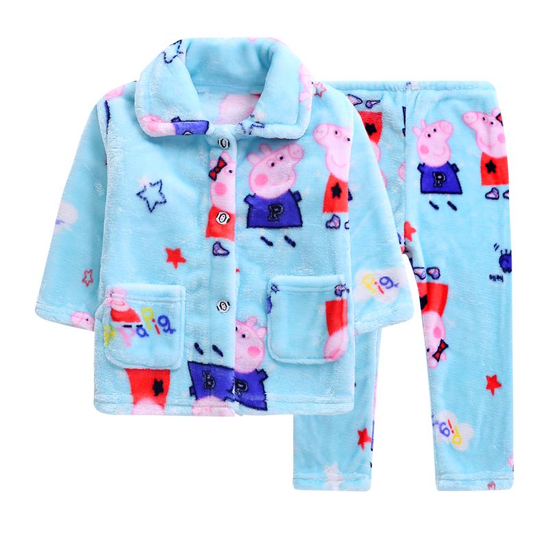秋冬季儿童珊瑚绒睡衣男童女童男孩宝宝保暖长袖加厚款法兰绒套装
