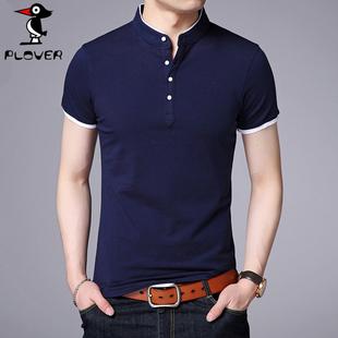 啄木鸟夏季男士短袖T恤纯棉立领polo衫