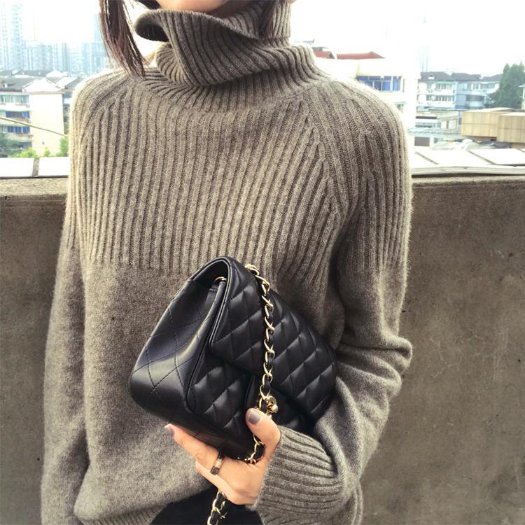 【品牌清仓】羊绒衫女宽松慵懒高领大码纯色加厚打底【仅剩358件