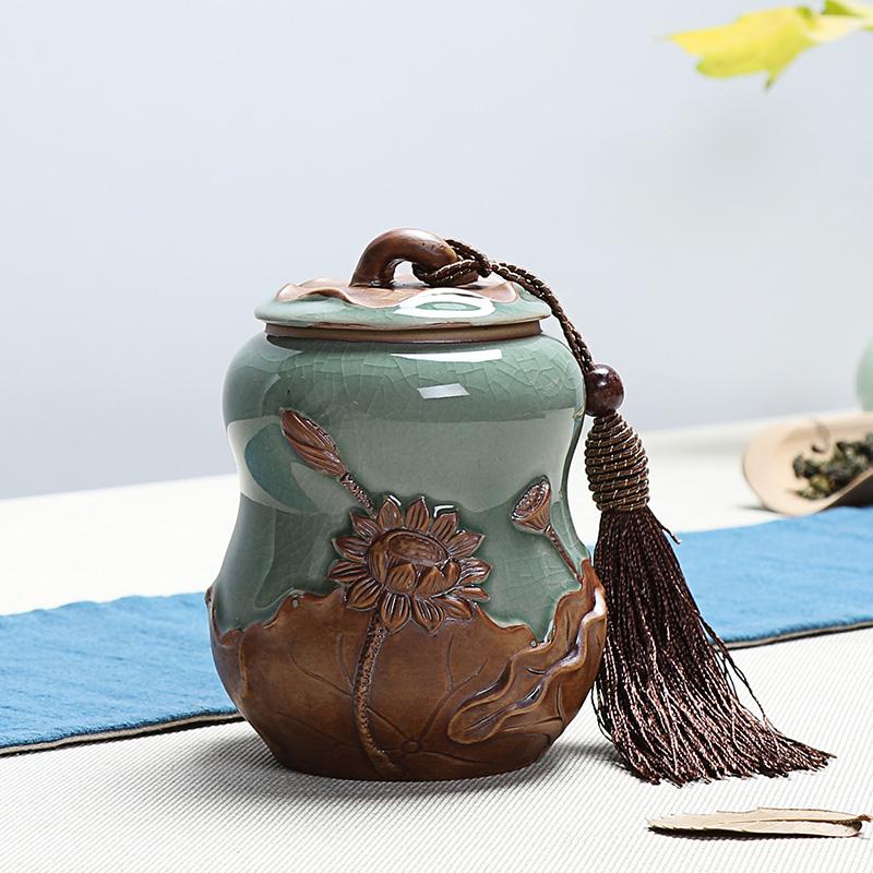 龙泉青瓷手绘陶瓷茶叶罐 红茶绿茶铁观音密封罐 汝窑紫砂茶叶罐