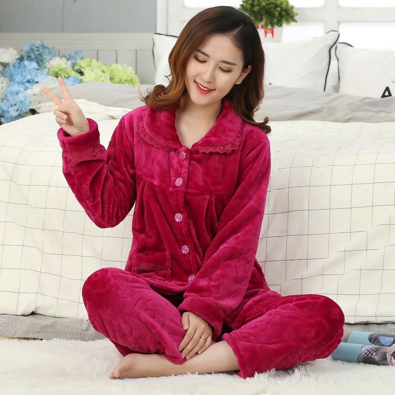 加厚珊瑚绒中年妈妈睡衣