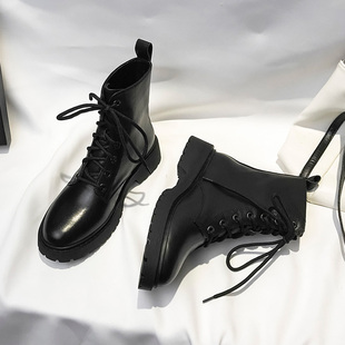 Leather lace black handsome Martin boots female British style 2020 new wild motorcycle short boots ins net red boots