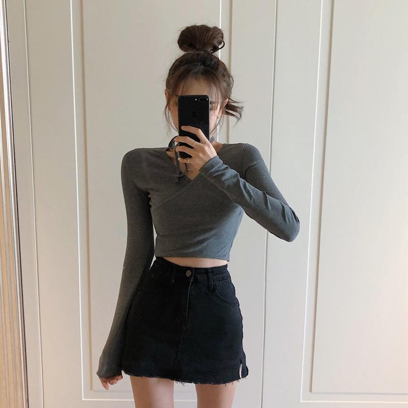 高腰半身裙女春装2020新款港味chic裙子A字短裙黑色包臀牛仔裤裙