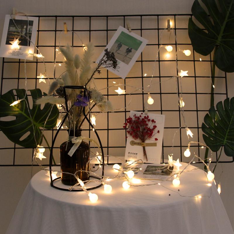 家用卧室房间浪漫装饰led满天星闪灯串灯七彩变色小彩灯电池款