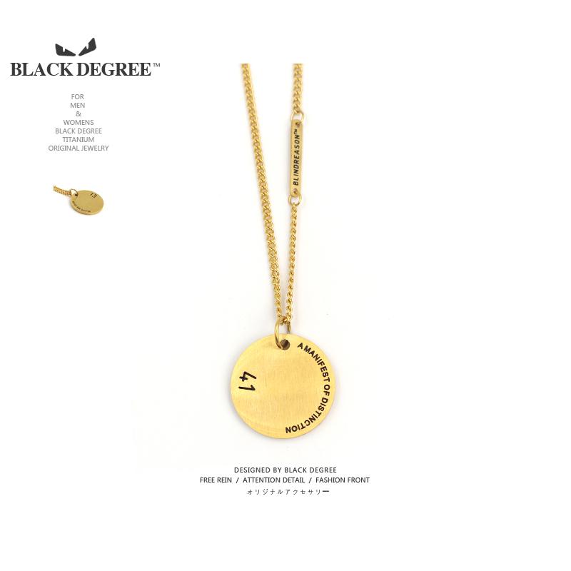 韩国潮牌BLIN系列1314权志龙GD同款钛钢圆牌项链男女复古情侣吊坠