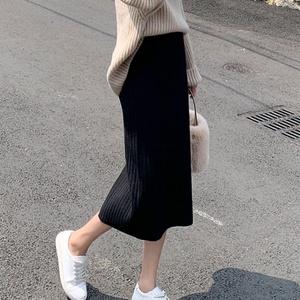 黑色针织半身裙包臀一步裙女2020春新款长裙毛线裙子 2P