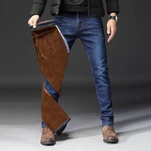 秋季新款弹力牛仔裤男士宽松直筒加绒男裤子冬季加厚保暖修身长裤