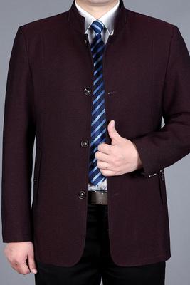 Playboy mùa xuân và mùa thu áo khoác nam trung niên của nam giới trung bình dài áo gió kinh doanh bình thường đứng cổ áo cha đầu