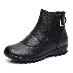 棉鞋女妈妈鞋冬季加绒中老年老人鞋牛皮