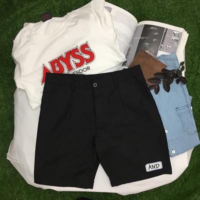 Mùa hè Hàn Quốc ulzzang quần short thanh niên người đàn ông quần thẳng Mỏng sắt vòng Harajuku quần tây giản dị của nam giới thủy triều Quần