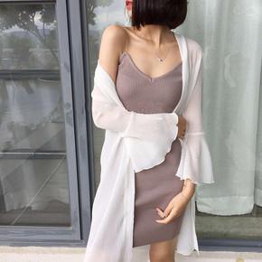 中长款纯色大码雪纺防晒空调衫