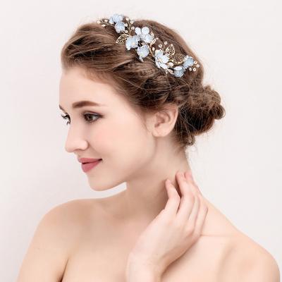 浅蓝色森女系新娘婚纱礼服头饰发饰镶钻花朵发梳珍珠U型簪子头花