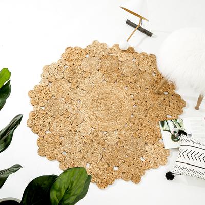 毯仓 印度进口高品质黄麻手工镂空设计北欧简约客厅床边地毯门垫