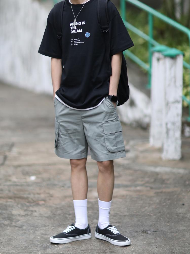 PSO Brand 19SS3 纯色双口袋纯棉工装休闲多色选择港风男女短裤
