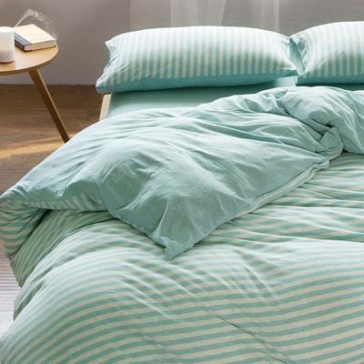 天竺棉四件套 纯棉简约条纹床单被套针织棉全棉