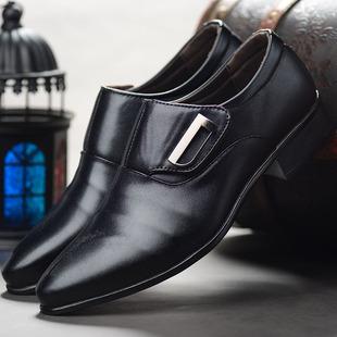2018新款男士商务正装尖头皮鞋百搭休闲