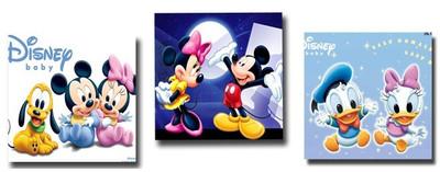 精准印花法国正品DMC十字绣 客厅卧室三联画 米老鼠与唐老鸭