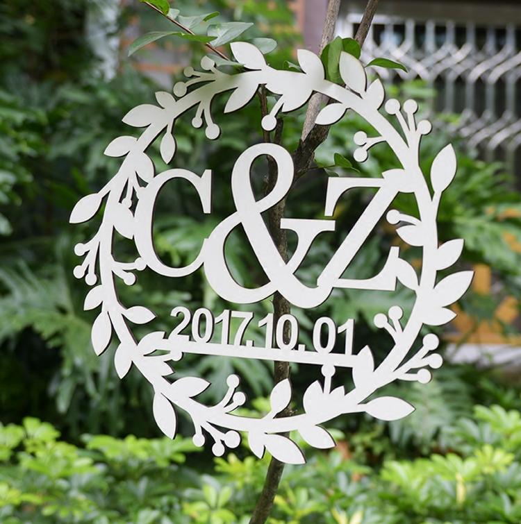 定制创意美式婚礼LOGO英文字母牌背景墙装饰品花环框摆件挂牌木质