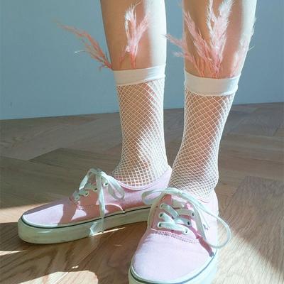 2双包韩国原宿中小渔网蕾丝短袜日系百搭超人气网袜个性时尚短袜