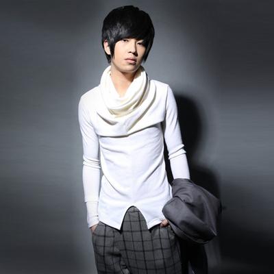 Mùa đông nhà tạo mẫu tóc ca sĩ Hàn Quốc phiên bản của đống cổ áo dài tay áo len nam cao cổ áo Slim stretch áo len xu hướng