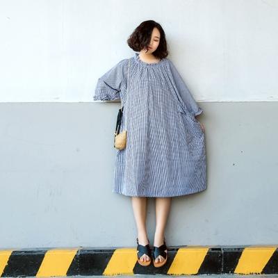 Su Lao An Ge Thiết Kế Ban Đầu Kích Thước Lớn A-length Dress Literati Retro Ren Tattoo Kích Thước Ăn Mặc Giản Dị Một Ngày Lớn ăn mặc