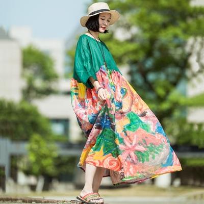 (Nghe hoa) nhỏ thiết kế ban đầu cá nhân khâu ramie in dress loose du lịch robe