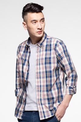 朗蒙春季男士纯棉格子长袖衬衫