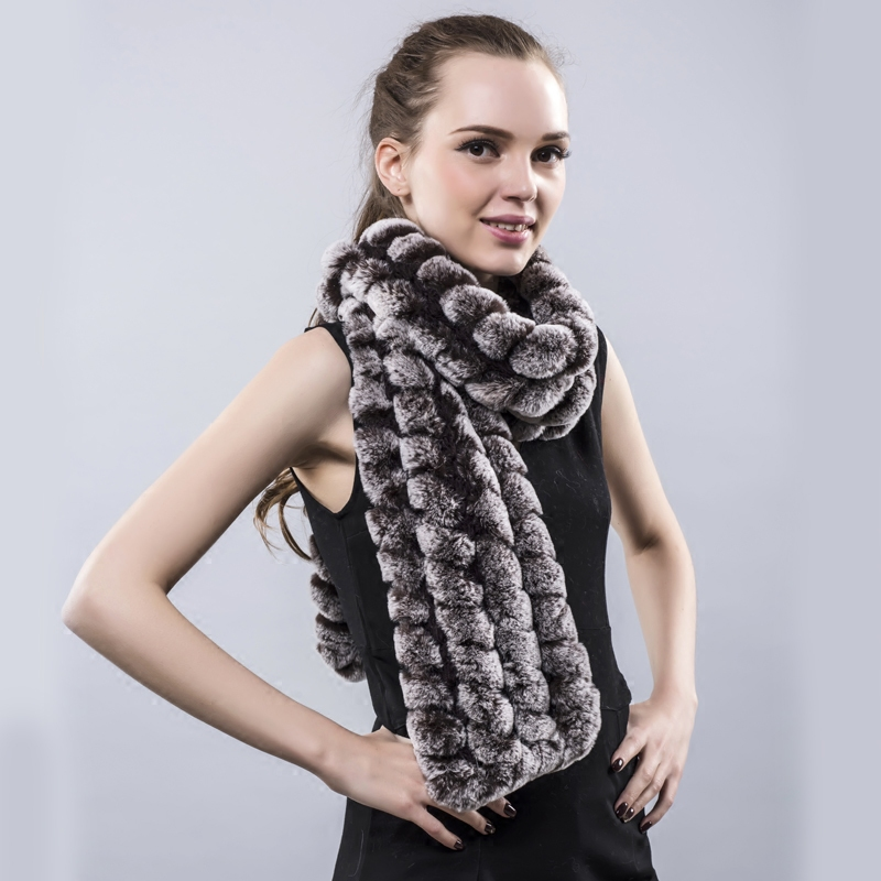 MH Bailment Womens Real Rex Rabbit Fur Scarves Winter Neck Warmer Knitted Flower Neckerchief