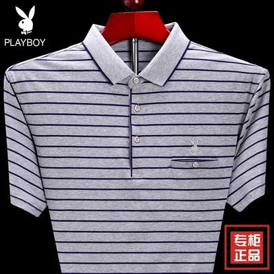 Playboy ngắn tay t-shirt nam mùa hè trung niên sọc lỏng kích thước lớn kinh doanh bình thường polo shirt daddy Mẫu áo phông nam đẹp 2019 Áo phông ngắn