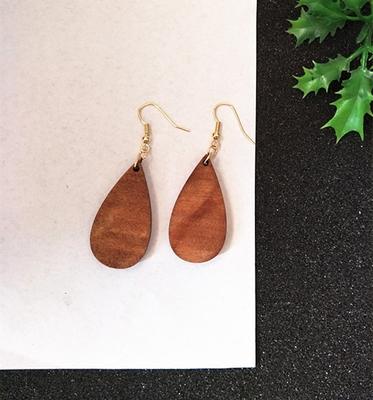 极简复古风镂空木质女耳环耳饰耳夹