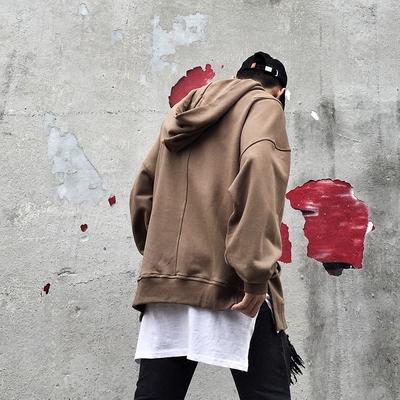 Châu âu và Hoa Kỳ cao triều đường thương hiệu quá khổ nam giới và phụ nữ retro màu rắn lỏng vai chia trùm đầu trùm đầu áo len FOG