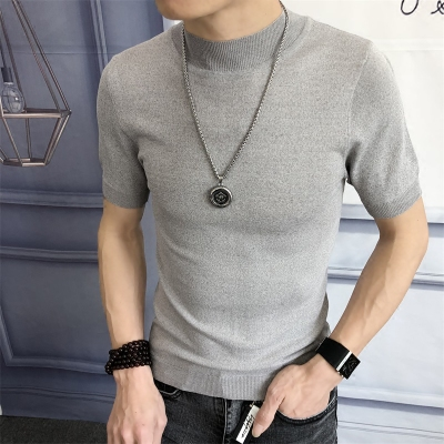 Mùa hè băng lụa ngắn tay t-shirt nam cao cổ mỏng phần mỏng đan áo len Hồng Kông gió nửa tay áo đáy áo
