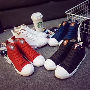 2015年秋季新款帆布鞋女学生鞋高帮薄底平跟休闲运动系带单鞋白鞋