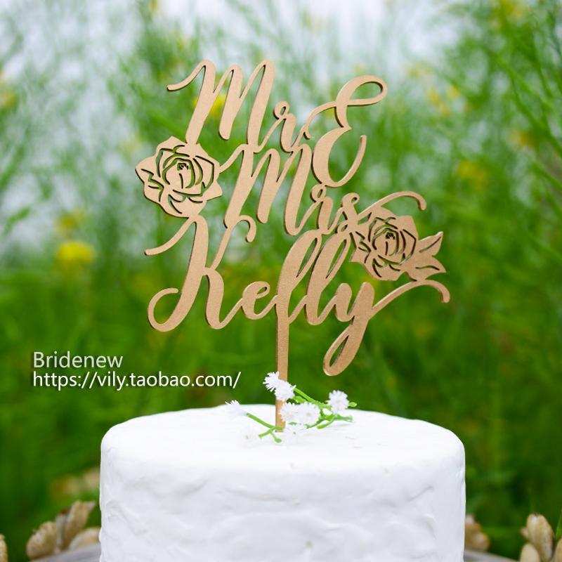 Bridenew定制蛋糕插牌卡签顶人名字母生日婚庆礼木质cake topper
