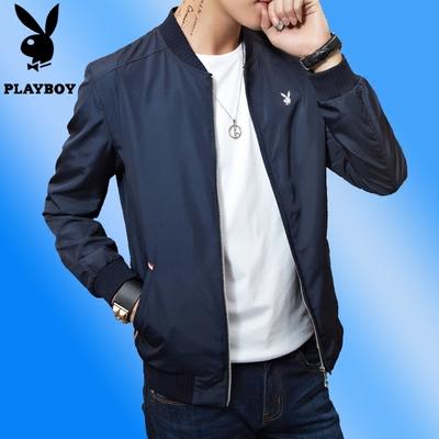 Chính hãng Playboy 2018 Mùa Xuân Người Đàn Ông Mới của Áo Khoác Mỏng Mùa Xuân và Mùa Thu Mặc Áo Giản Dị Thanh Niên Triều Đứng