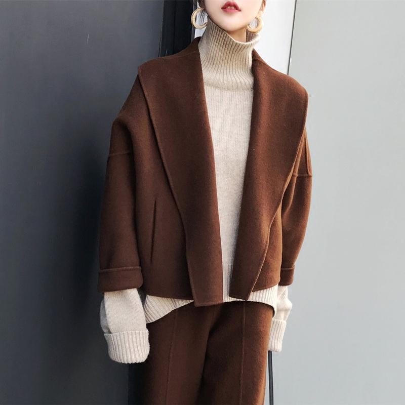 MMCO ◆ 2017 mùa đông mới handmade hai mặt len áo len áo ngắn lỏng phù hợp với phụ nữ quần áo