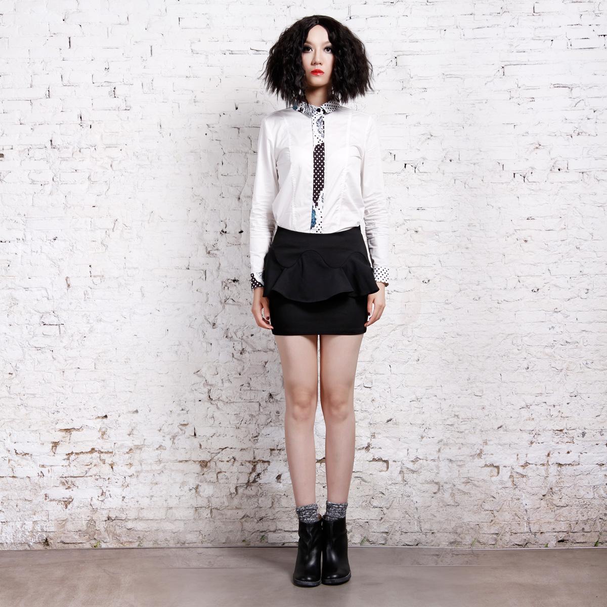 独立设计师欧美sungdo gin秋款纯色弹力荷叶褶短裙半裙